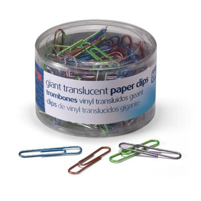 Officemate Giant Translucent Paper Clips, Assorted Colors, Box of 6 Tubs of 200 Each (97212)