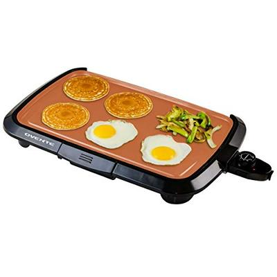 Ovente Electric Indoor Kitchen Griddle 16 x 10 Inch Nonstick Flat Cast Iron Grilling Plate, 1200 Watt with Temperature Control and Oil Drip Tray Perfect for Cooking Pancake, Breakfast, Copper GD1610CO