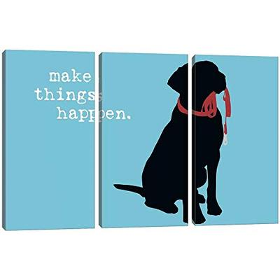 iCanvas DIG45 Make Things Happen Canvas Print by Dog Cat is Good, 40  x 60  x 0.75  Depth Split