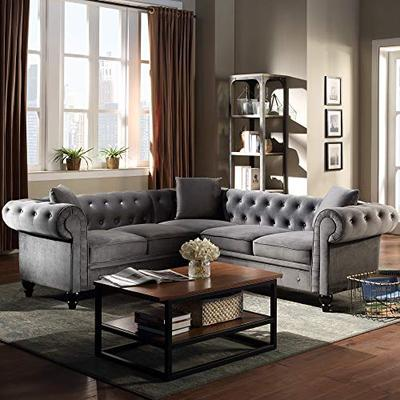 UNIROI Tufted Velvet Upholstered Sectional Sofa, 5 Seater Couch with Classic Chesterfield Rolled Arm and 3 Pillows for Living Room Furniture Set Grey