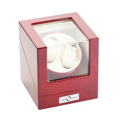 Diplomat Cherry Wood Double Watch Winder with Off-White Leather Interior