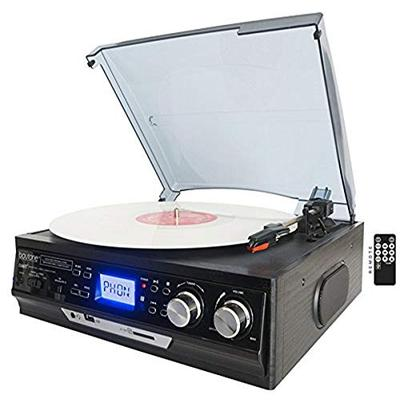 Boytone BT-17DJB 3-speed Stereo Turntable, 2 Built in Speakers Digital LCD Display AM/FM Radio, USB/SD Slot, AUX+ MP3 & WMA Playback /Recorder & Headphone Jack + Remote Control,Black