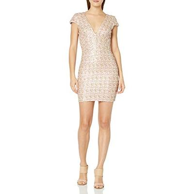 Dress the Population Women's Zoe Cap Sleeve Plunging Sequin Mini Dress, Opal, M
