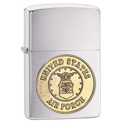 Zippo United States Air Force Emblem Pocket Lighter, Brushed Chrome