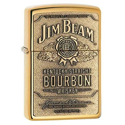 Zippo Jim Beam Bourbon Label Emblem Pocket Lighter, High Polish Brass, One Size