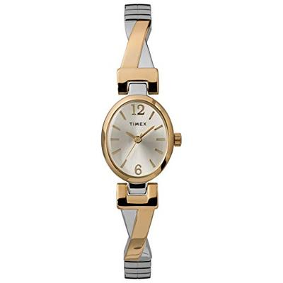Timex Women's TW2U12100 Fashion Stretch Bangle 21mm Two-Tone Expansion Band Watch