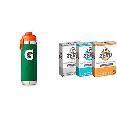 Gatorade 26oz Stainless Steel Bottle, One Size, Green & Gatorade Zero Powder, 3 Flavor Variety Pack, 50 Count