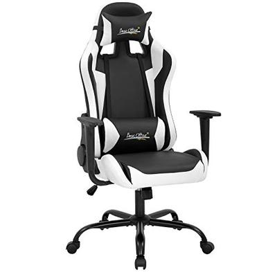 Gaming Chair Racing Chair Computer Chair with Lumbar Support Headrest Armrest Task Rolling Swivel Desk Chair PU Leather Adjustable PC Office Chair Ergonomic E-Sports Chair White