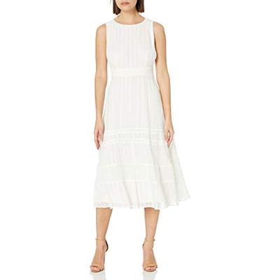 Taylor Dresses womens Petite Taylor Dresses Sleeveless Round Neck Embroidered Chiffon With Lace Midi A-line Dress, Ivory, 14-15 Petite US