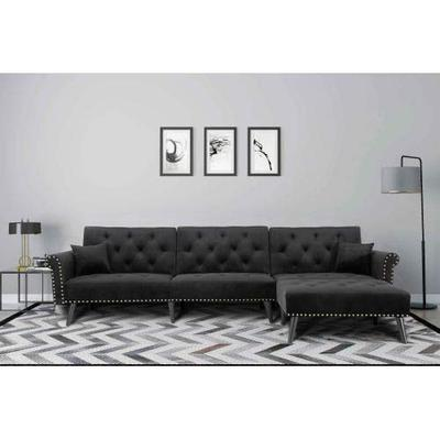 UNIROI Elegant Black Button Velvet Tufted Convertible Bed, L Shape Sectional Sleeper Sofa Couch with Reversible Chaise and 2 Pillows for Living Room Furniture Set
